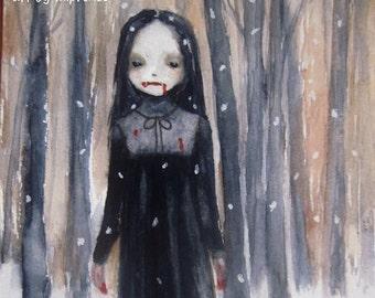 Vampire Girl Gothic Fantasy Art Original Watercolor Painting Creepy Dark Art Illustration MPrince