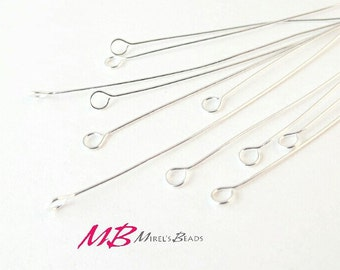 144 pcs Silver Plated Eye Pins, 24 Gauge, 2 Inches