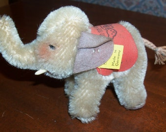 Vintage 1955 Steiff 75th Anniversary Elephant with Original Ear Tag and Commemorative Red Saddlecloth Blanket