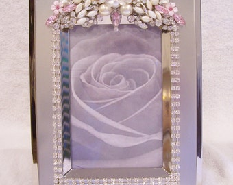 4x6 Jeweled Silver Tone Photo Frame. Pretty Birthday, Wedding, Anniversary, Graduation, Holiday Gift.