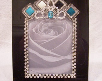 Black Glass Photo Frame Designed with Costume Jewelry and Clear Rhinestones.