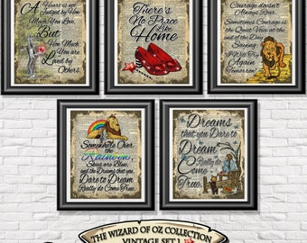 Wizard of Oz poster prints, 5 vintage Dorothy art printed onto old dictionary book pages. Mixed media set 1 wall decor shabby chic