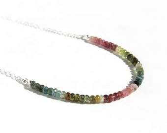 Tourmaline Beaded Necklace Sterling Silver Multi Color Natural Gemstone Pink Green Blue Faceted Stone Bead Minimal Gemstone Necklace #16405