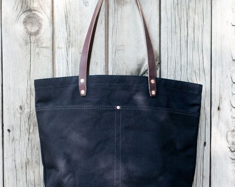MARKET TOTE BAG | Black with Leather Bottom | Leather Straps | Interior & Exterior Pockets | Lifetime Guarantee