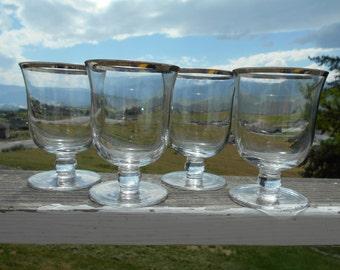 "Platinum Rimmed Crystal Dessert Dishes, 3-1/2"" Diameter x 5"" Tall, Set of 4"