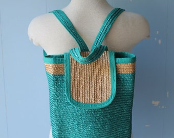 Vintage Straw Basket Backpack/Basket Bag/