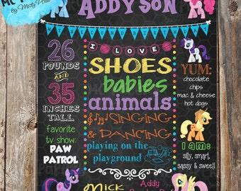 My Little Pony Printable Birthday Chalkboard Sign - YOU PRINT