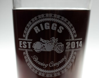 Personalized Motorcycle themed HomeBrew glass set,fathers day gift,custom pint,engraved pint, custom Beer Glass
