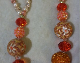 Baubles and Bling Necklace, Orange, Peachy/Salmon and floral