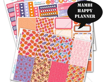 Pink Autumn Stickers Fall Planner Kit 200+ Happy Planner Stickers, Mambi Planner Sticker kit, Weekly Planner Kit, Fall Stickers #SQ00323-MHP