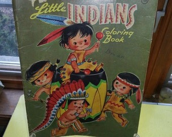 """Vintage 1960 Whitman """"Little Indians"""" Childrens Paper Coloring Book"""