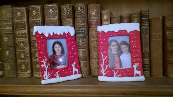 Small FRAME for photo ID, or a small souvenir. Cold porcelain Saeljana. Gift, Christmas, winter.