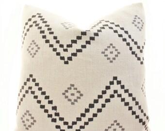 Peter Dunham Textiles Taj Pillow Cover, Onyx, Ash, Linen, Black, Natural, Gray, Linen, SKU8522, Geometric, Pattern, Lumbar