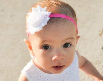 Baby Headband, Hot Pink Headband, Newborn Headband, Baby Girl Headband, Toddler Headband, Flower Headband, Pink Headband, Baby Headbands