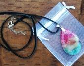 Beautiful Teardrop Rainbow Onyx Druzy Geode Agate Pendant Gemstone!