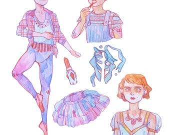 Girly Boy Sticker Set