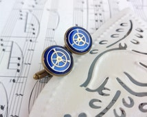 Unique Blue Cufflinks. Bronze and Bright Blue with real cogs and watch parts. Nautical feel. 16mm. Handmade in Devon.
