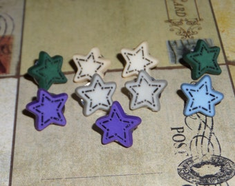 Quilted star thumb tacks, push pins, office decor, home decor