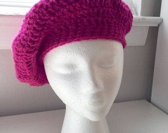 Women's Handmade Crocheted Raspberry Beret Hat, Tribute to Prince, Simple Design