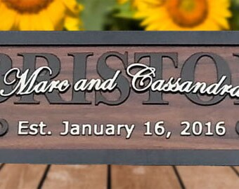 Personalized Wedding Gift Last Name Established Sign Family Name Signs Custom Wood Sign 3D carved Carved Wood Sign 5th Anniversary Gift  BR5