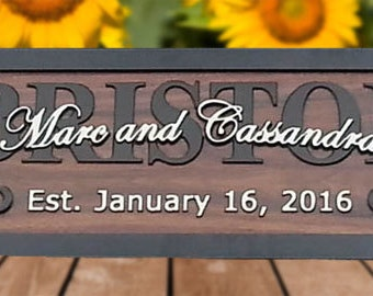 Custom wedding gift for couple personalized engagement gift last name wood sign Mr Mrs marriage gift established wedding date sign BR76
