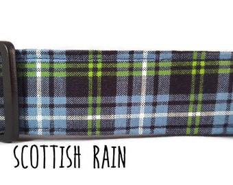 Boy Dog Collar, Plaid Dog Collar, Blue and Green Dog Collar, Tartan Dog Collar, Scottish Rain - (Standard, Metal Buckle, or Martingale)