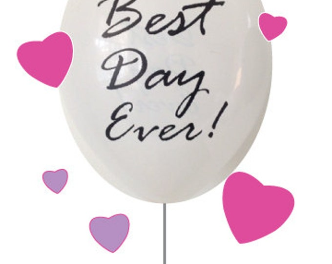 Best Day Ever Balloons | 25 - 11 Inch Balloons | White and Gold Wedding Decor | Reception Balloons | Engagement Party Decor