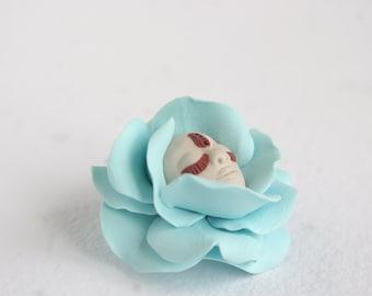 Make To Order, Blue Flower Brooch, Fairy Flower Brooch, Face Brooch, Magic Jewelry,  Artisan Jewelry,  Miracles, Wonder, Fairy Tale