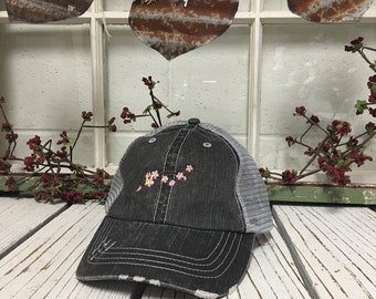 Trucker Hat Cherry Blossom Embroidery Low Profile Cap Curved Bill Gray Mesh