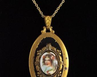 c.1900 - Antique Victorian Hand painted Porcelain Pendant w/ Chain