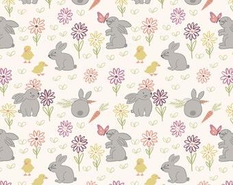 Lewis & Irene Bunny Garden LEI A148-1, Easter Fabric, Bunny Fabric, Rabbit Fabric, Easter Quilt Fabric, Children's Fabric