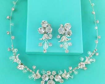Swarovski Crystal Rhinestone Jewelry Set, Crystal Wedding Necklace Set, bridal jewelry set, wedding set, bridesmaid jewelry set 273015226