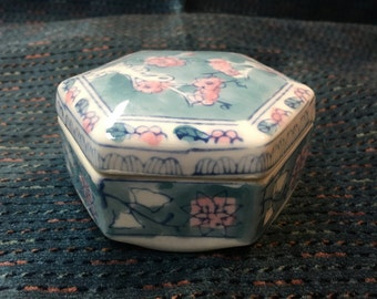 Porcelain Floral Trinket Box, Blue and Pink Floral Trinket Box, 6 Sided Trinket Box, Hexagonal Trinket Box, Treasure Box, Porcelain  Box