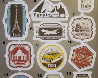 Travel Sticker Travel Stickers Brazil Vinyl stickers Egypt tumbler stickers Italy Vintage Stickers Paris Decal tumblr Stickers