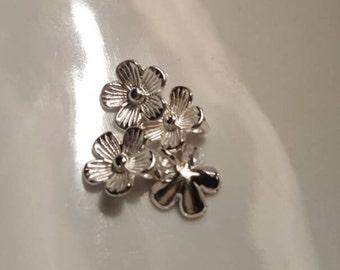 Antique Silver Flower Charm 12mm 8pcs