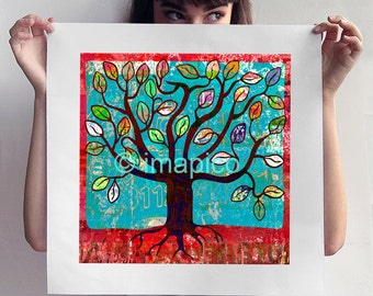 Tree of life art print instant download, digital printable tree illustration, downloadable wall art poster, red and turquoise home decor art