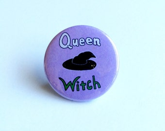 Queen Witch Pinback Button, Queen Witch Pin, Queen Witch Button, Witch Pin, Witch Pinback Button,  Occult Pin, Creepy Cute Pin Witch Hat Pin