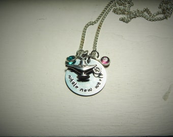 A whole new world, hand stamped necklace, Swarovski Crystal