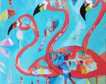 Flamingos Art Print, Wall Decor, Kids Art, Nursery Decor, Wall Art, Animal Art, Colorful Art, Art Gift, tropical art, 3 sizes