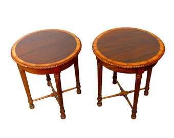 Pair Of Regency Round Mahogany Side Tables