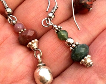 Small Jasper Earrings. Sterling Silver, 10 to choose from!  Faceted or Plain. Green, Caramel, Brown, Red, Beige. free US ship