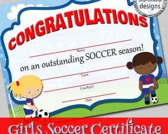 Girls Soccer Certificate - Instant Download!