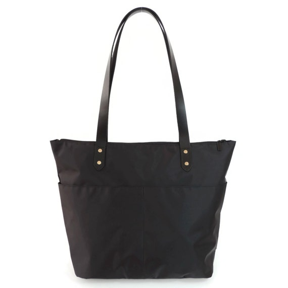Black Nylon Tote Bag Large Black Tote Leather Shoulder Bag