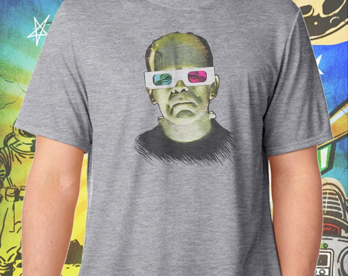 3D Glasses Frankenstein Monster Men's Gray T-Shirt