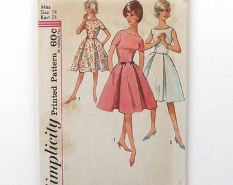 Vintage 1960's Simplicity One-Piece Dress Sewing Pattern #4942 - Size 14 (bust 34)