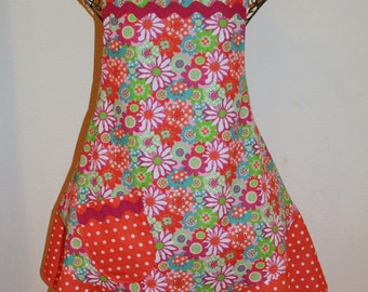 Women's Large Apron - Plisse Fabric with Colorful Flowers