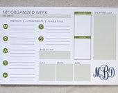 Weekly Organizer Notepad // Monogrammed Weekly Planner // Personalized Weekly Schedule // Monogrammed To-Do List // Wedding Planning Notepad