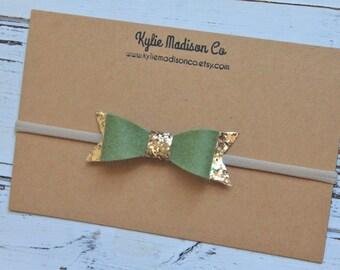 olive and gold glitter bow headband, nylon headband, baby headband