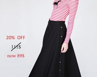 Long Skirt - Long Skirt for Women - Maxi Skirt - Black Long Skirt - Long Skirt with Pockets - Maxi Skirts Long - Casual Skirt - 20% OFF