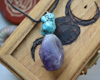 Amethyst And Turquoise Pendant
